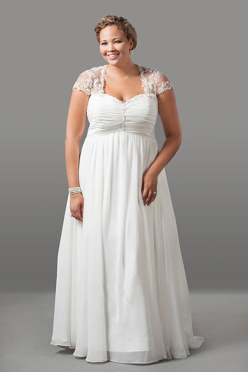 vestido-de-noiva-plus-size-manga-curta-plissado-renda-Sydneys-Closet