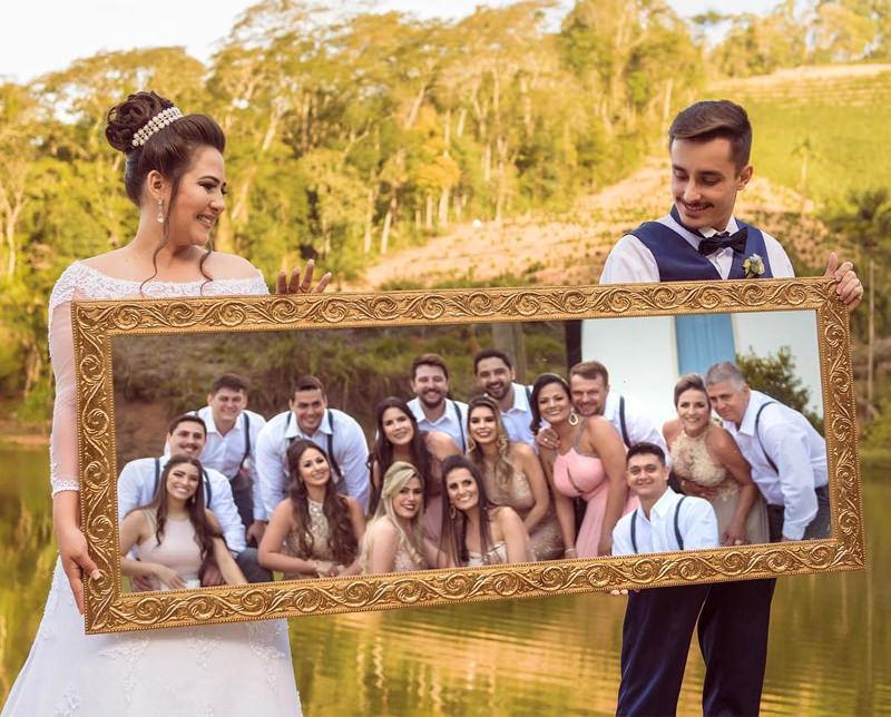 foto-com-padrinhos-no-espelho