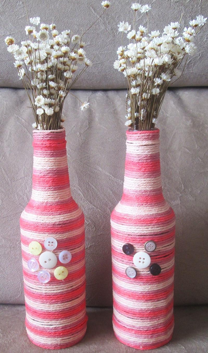 Top Tutorial: garrafas decoradas com barbante para festa de casamento  KW92