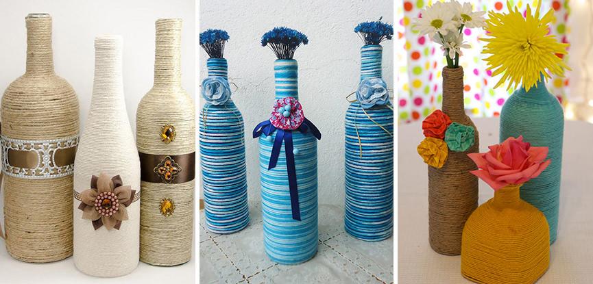 Tutorial garrafas decoradas com barbante para festa de casamento eNoivado -> Decoração Em Garrafas Com Barbante
