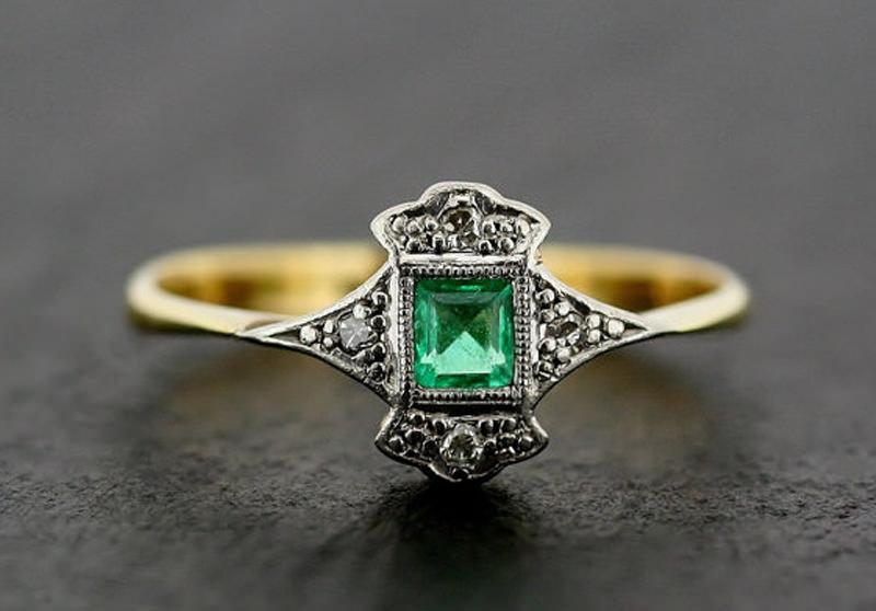anel-de-noivado-vintage-esmeralda