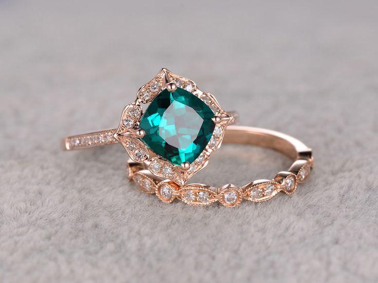 anel-de-noivado-vintage-diamante-esmeralda