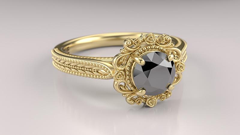 anel-de-noivado-vintage-com-diamante-negro