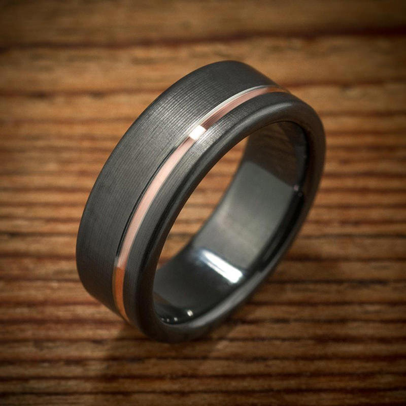 Black And Rose Gold Mens Wedding Bands