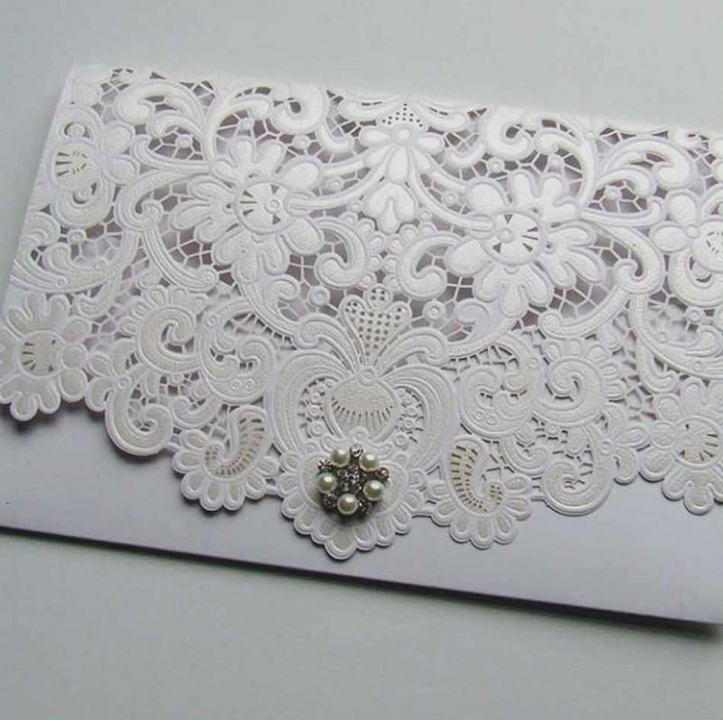 Laser Cut Wedding Invitations Elegant Laser Cut Pocketfold Weddi