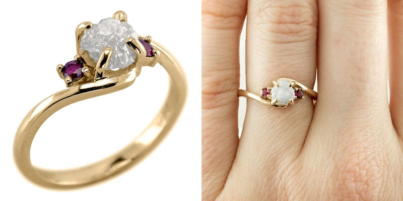 anel-de-noivado-diamante-bruto-e-rubis