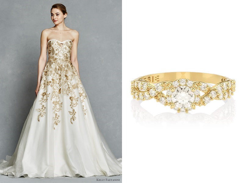 meu-vestido-de-noiva-pode-combinar-com-meu-anel-de-noivado-vestido-branco-e-dourado-anel-lien-poesie-de-ouro-amarelo
