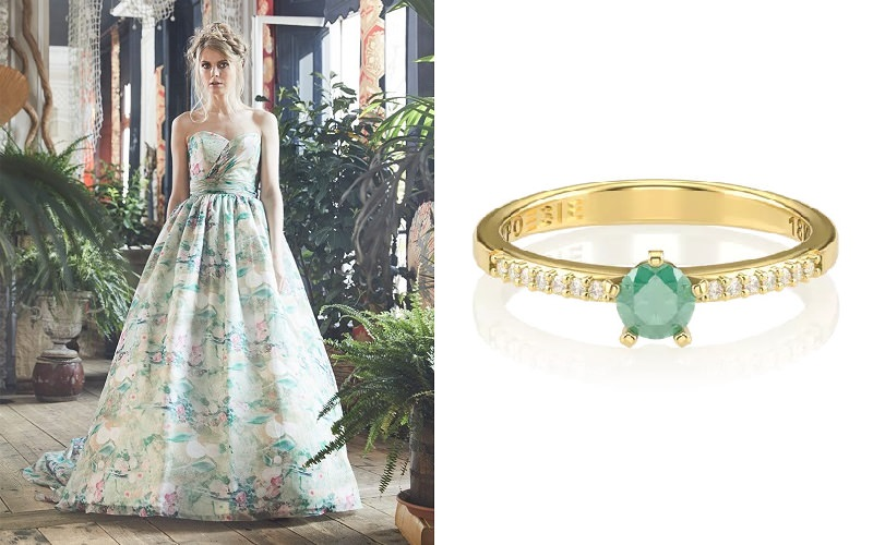 meu-vestido-de-noiva-pode-combinar-com-meu-anel-de-noivado-vestido-branco-e-verde-anel-petit-solitaire-esmeralda-poesie