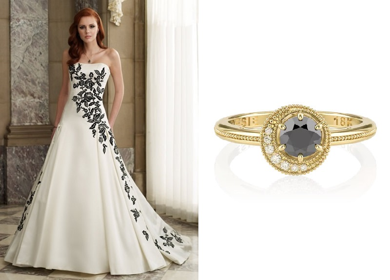 meu-vestido-de-noiva-pode-combinar-com-meu-anel-de-noivado-vestido-preto-e-branco-anel-dark-moon-poesie-diamante-branco-e-diamante-negro