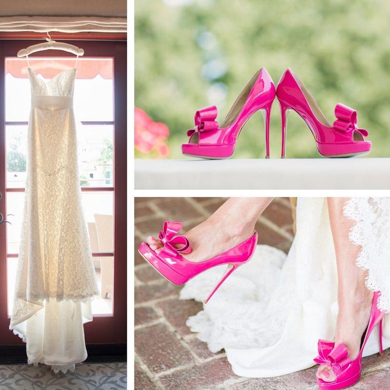 sapato-de-casamento-rosa-pink-e-vestido-de-noiva-branco