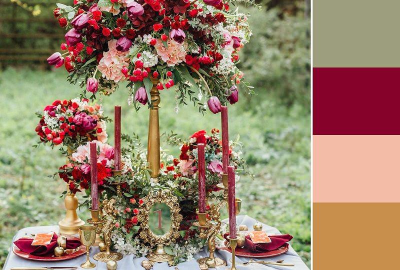 mesa-casamento-cores-flores-vermelha-verde-ocre